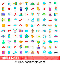 100 search icons set, cartoon style