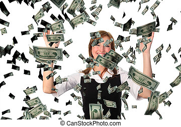 Business woman cathing Falling Dollars