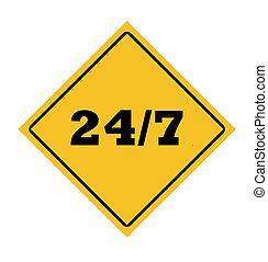 24/7 roadsign in yellow diamond isolated on white background.