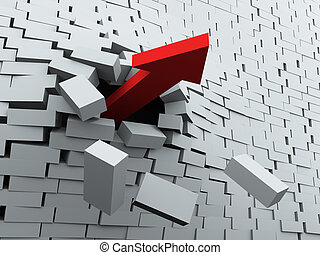 3d render of red arrow breaking wall