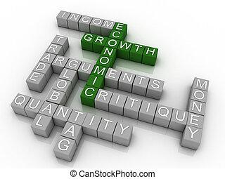 3d Background concept wordcloud illustration of economic growth