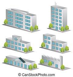 3d building icons set. Architectures image