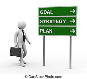 3d illustration of man and green roadsign of goal strategy plan. 3d rendering of human people character.