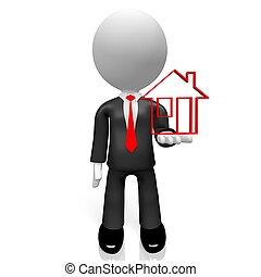 3D businessman, house shape