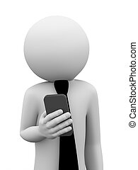 3d rendering of business person looking at mobile phone and making a call. 3d white people man character