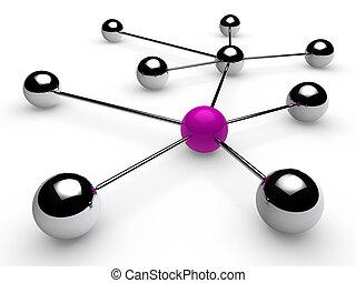 3d, purple, chrome, ball, network, communication, white