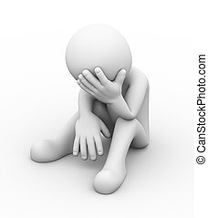 3d depressed sad person