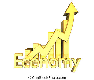 3d made Economy - Statistics graphic in gold