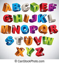 3D font, bold colorful alphabet, vector.