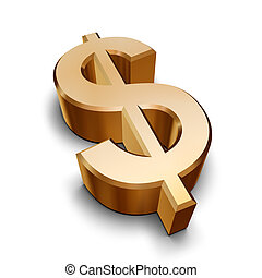 A golden Dollar symbol isolated on a white background (3D rendering)