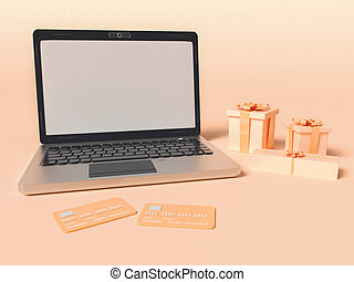 3D Illustration. Laptop with credit cards and gift boxes.