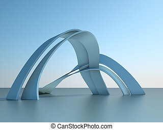 3d illustration of a modern architecture building with arches on sky background