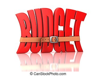 3d illustration of budget recession, deficit