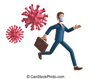 3D illustration of businessman running away from the huge coronavirus. Cartoon panic man wearing medical mask isolated on white background. Covid-19 pandemic concept.