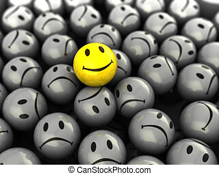 3d illustration of one happy face symbol on gray crowd background