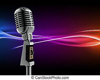 3d illustration of retro microphone