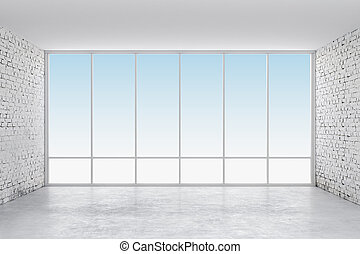 3d interior empty room with a big window frame