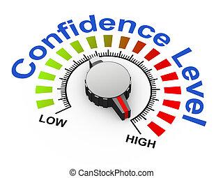 3d illustration of knob set at maximum for increasing confidence level