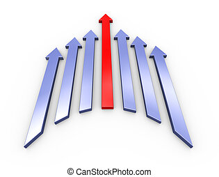 3d leading red arrow
