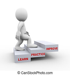 3d man on learn practice improve steps