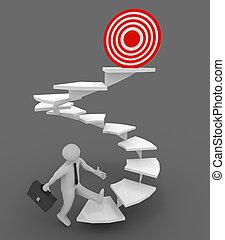 3d man walking up to target . 3d rendered illustration