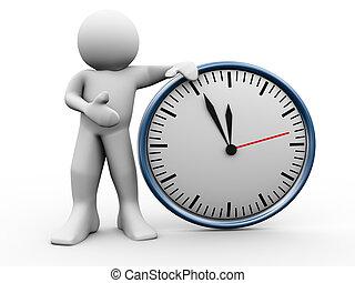 3d man with clock