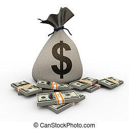 3d money bag and dollar packs
