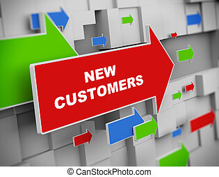 3d illustration of moving arrow of new customers on abstract wall background