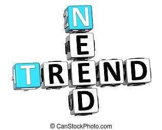 3D Need Trend Crossword cube words