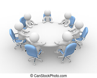 3d people - human character at a round conference table with chairs. Business meeting. 3d render