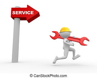 Arrow and the word service.