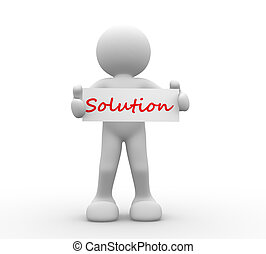 3d people - man, person with board and word Solution
