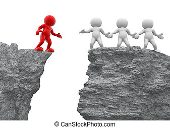 3d people - men, person and a rock . Helping hand.