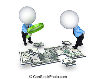 3d small people with a loupe and dollar made of puzzles. Isolated on white background.