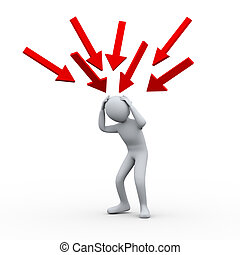 3d illustration of stress and confused man hit by many falling arrows. 3d rendering of human people character. Concept of problem, financial crisis, stress.