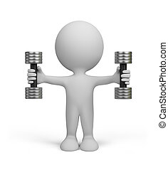 3d person with dumbbells