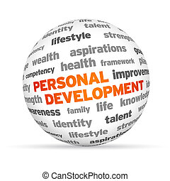 3d Personal Development Word Sphere on white background.