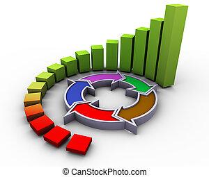3d circular progress bars with flow diagram
