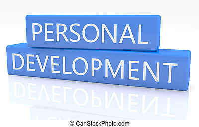 3d render blue box with text Personal Development on it on white background with reflection