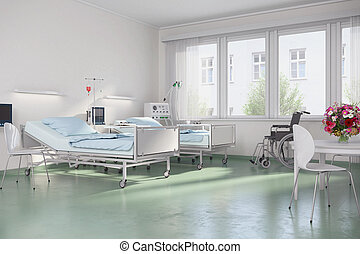 3d render - empty hospital room
