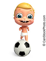 3D Render of baby with Football