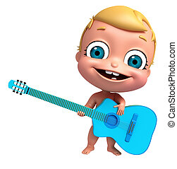 3D Render of baby with Guitar