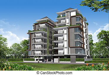 3d render of building, Residential