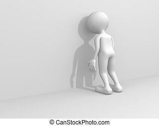 3d sad person - 3d render