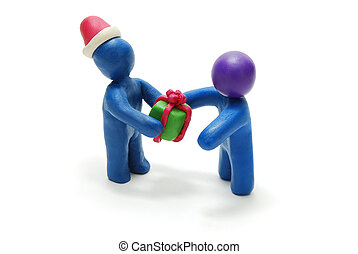 3D Santa Giving Gift to Person