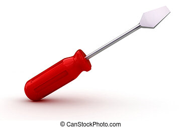 3d screwdriver on white background