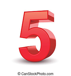 3d shiny red number 5 isolated white background