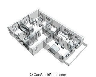 3d sketch of a four-room apartment. Object over white