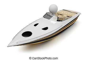 3d small people - boat