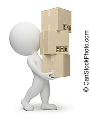 3d small people carrying cardboard boxes. 3d image. Isolated white background.
